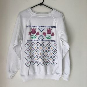 """""""Puff Paint"""" Grandma Style Quilted Design Crewneck"""